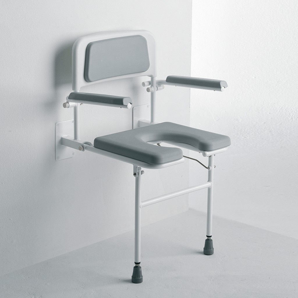 Newstar wall mounted padded horseshoe shower seat with back arms and legs NS.DSS4
