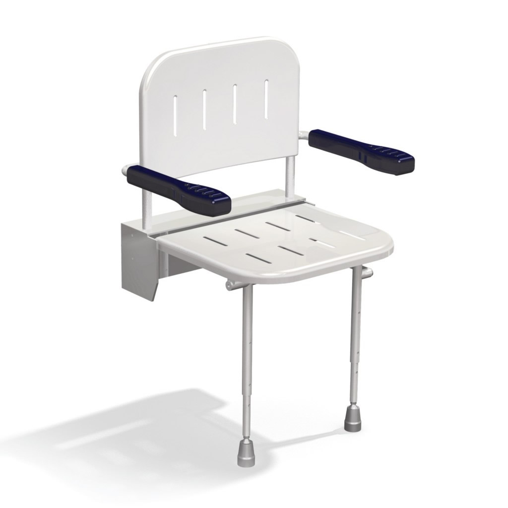 Newstar Wall mounted shower seat with back arms and legs NS.DSSC2