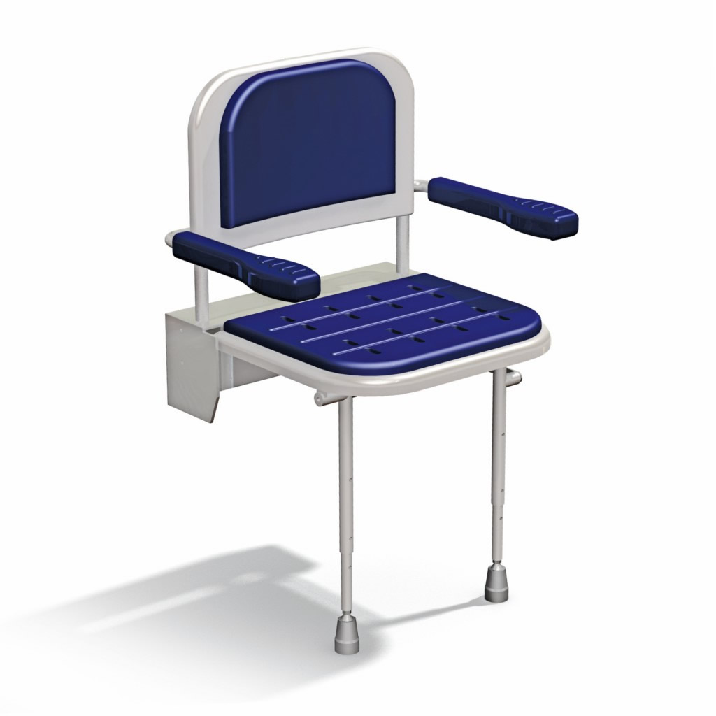 Newstar wall mounted padded shower seat with back arms and legs NS.DSSC3
