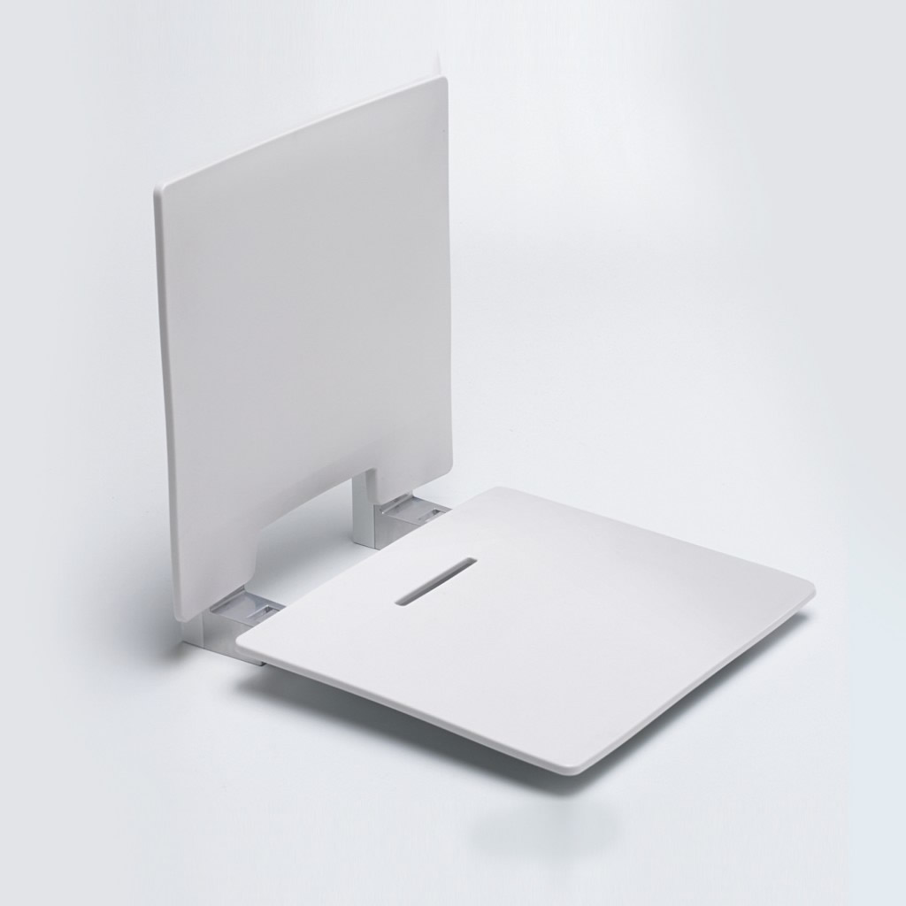 Newstar Slimline contemporary shower seat with back rest NS.WRSS6 White