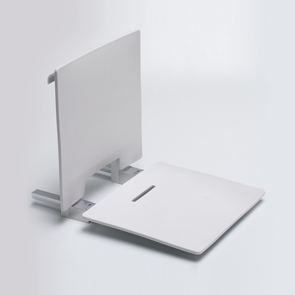 Newstar Removable slimline contemporary shower seat with back rest NS.WRSS7 White