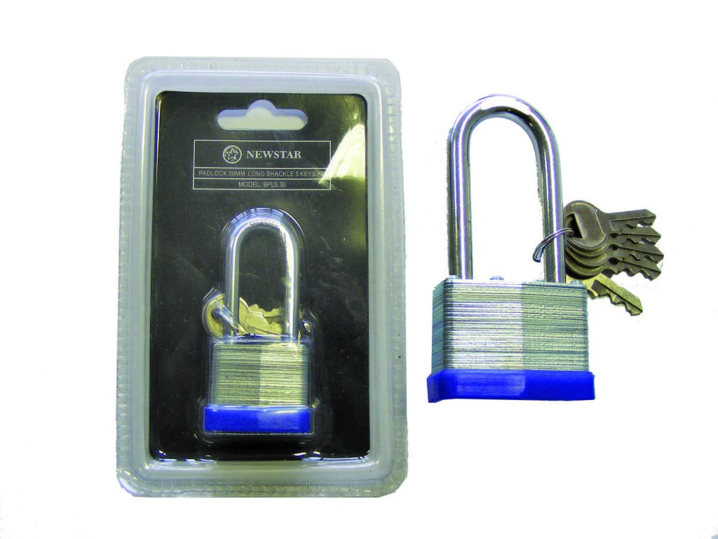 Newstar BPLS Laminated Long Shackle Padlock